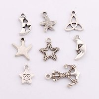 anchor charm lot - 160Pcs Antique Silver Star Moon Knot Anchor Spacer Charm Beads Pendants Alloy Handmade Jewelry DIY LM3