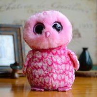 bear barn - Big Eyes Beanie Boos Kids Plush Toys Pinky Pink Barn Owl Medium Original Ty Collection Gifts Kawaii Cute Stuffed Animals Dolls