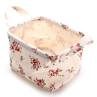 Wholesale Fashion Cloth Storage Basket Floral Rose Foldable Box With Handle Sundries Bin Organizer Home Desk Table Decoration