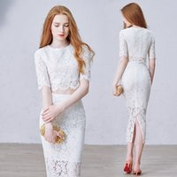 appointment plus - Elegant Lace Evening Dress Romantic Two Piece Mermaid Evening Gown Graceful Tea Length Appointment Party Dresses