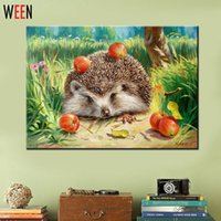 Wholesale Wall Pictures for Living Room Cuadros Hedgehog Coloring by Numbers Canvas Oil Paintings DIY Digital Oil Painting Art Home Decor