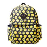 Wholesale 2015 New Fashion Backpack Girl Women s Men s Emoji Canvas Travel Backpack School Rucksack Bag Hot Sell