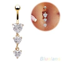 Wholesale Body Piercing Gold Navel Rings Heart Crystal Clear Dangle Belly Button Rings T5N