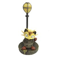 Cheap 14CM Poke Go Pikachu Team Rocket Meowth Windbreaker Street Lamp Ver. PVC Action Figure Collectible Model Toy