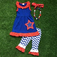 baby girl vest - hot sale new baby girls kids th of July summer chevron capri ruffle outfits sleeveless with matching necklace and headband set