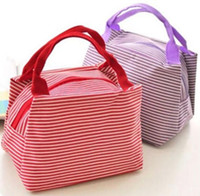 beach cooler bag - Color Stripe Insulated Food Carrier Beach Picnic Lunch Bag Waterproof Oxford Thermal Lunch Box Bag can keep warm and cooler
