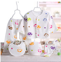 Wholesale 5pcs Smiles Printed Baby Clothing Sets Newborn Baby Cotton Shirt and Pants Suits Infant Clothes Outfits M
