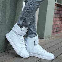 Wholesale New Mens High Top Lace Up Sneakers Athleic Run Sport Shoes black white red silver gold Casual Boots size