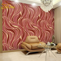 Wholesale Yulan Luxury Fashion D Abstract Wave Embossed Flocking Non Woven Wall Paper Mural Natural TV Background Wall Covering Decor