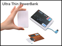Wholesale 2500Mah Ultra Thin Portable Credit Card Power Bank USB Promotion PowerBank with Built In USB Cable Backup Emergency Super Light Smal