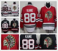 Wholesale 2016 NEW Men s Chicago Blackhawks Jerseys Patrick Kane Indians Skull Red Black White Stitched Hockey Jerseys