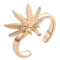 Cheap Natural Inspired Delicate Maple Leaf Open Band Ring Adjustable Minimalist Jewelry Band Midi Ring for Women Girl Gift