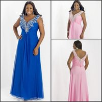 baby blue evening dresses - New Plus Size V Neck Chiffon Prom Dresses Crystals Beaded Backless Baby Pink Long Evening Gowns Party Celebrity Dress