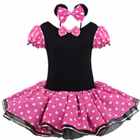 baby print ribbon - 2016 Summer outfits baby clothes Clothing Baby Girls Dress Lovely Color Dot Mickey Mouse Minnie Dress Baby Clothes Kids clothing