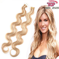 Wholesale Double drawn tape hair extensions Brazilian human hair straight skin weft tape in hair extensions pack
