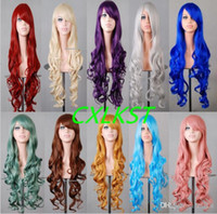 "Cheap 32"" 80cm Heat Resistant Long Bangs Curly Wavy Full WIgs Cosplay Anime Party Wig Brand New"
