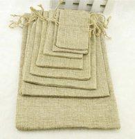 accessories coffee beans - Natural Color Jute Burlap Drawstring bags Gift Coffee beans Storage Bags For Wedding Decor Cosmetic Jewel Sundries Packaging