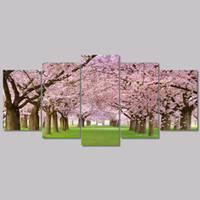 beautiful japan pictures - Pink beautiful Japan flower trees Promotion living room Decoration cherry blossom Canvas Painting on wall Hanging unframed