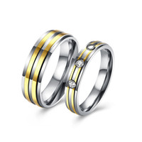 Wholesale Stainless Steel Couple Ring Wedding Band Two Tone Top Golden Lines AAA CZ Ring