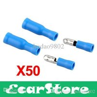 Wholesale 50pcs Blue Male Female Bullet Connector Crimp Terminals Wiring