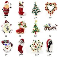 acrylic snowman - Gold Silver Plated Christmas Snowman gift Costume Brooch Cheap Red Rhinestone Christmas Brooches Collar Enamel Clip For Scarf Buckle
