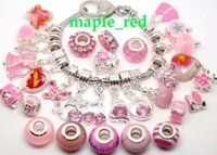 beautiful silver coins - 50pcs Pink Beautiful Charms Pendants Beads for Jewelry Making Loose Big Hole Charms DIY Beads for European Bracelet in Bulk