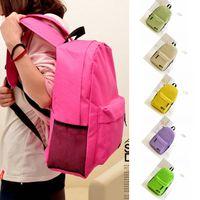 Wholesale Unisex School Backpacks Solid Colors Nylon School Bags Boys Girls Fashion Shoulder Bag mochilas ruchsack LJJG415