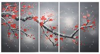 Wholesale Elegant Wall Decor Art Red Plum Blooming Oil Painting Hand Painted Red Flower Paint Large Landscape Painting x28Inchx5panels
