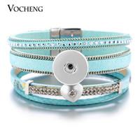 VOCHENG NOOSA Ginger Snap Bijoux Bracelet en cuir bleu pour les femmes Magnet Fermoir Flower Print 18mm Love Heart avec Crystal NN-541