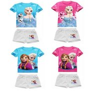 frozen tshirt - Frozen Girl Sets Children Clothing Princess Anna Elsa Flower Tshirt Tee Bowknot Shorts Pants Outfit Kids Snow Queen Suit