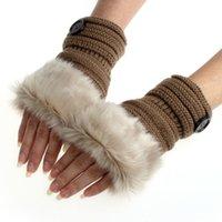 acrylic fur - Amaizng Fashion Winter Knitted Faux Fur Fingerless Gloves Women Wrist Soft Warm Mitten