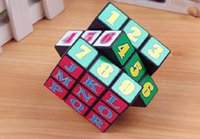 Wholesale 6x6x6CM Intelligence toys Alphabet Numbers Magic Cube Puzzle Twist Education Developmental Toy Brand New And Good Quality