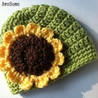 apple beanie babies - Adorable Sunflower Beanie Handmade Knit Crochet Baby Girl Apple Green Halloween Hat Kids Winter Hat Infant Toddler Photo Prop