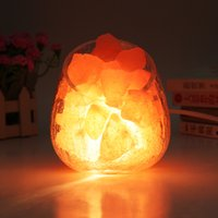 ball crystal lamp table - Himalayan Natural Crystal Salt table Lamp Mineral Rock Light dimmable Crackle glass egg ball lampshade Air Purification Therapy Mineral Rock