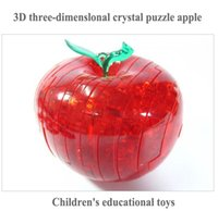 Wholesale 3D Crystal apple toy bricks flashing D puzzles children DIY educational toy Creative toys dhl