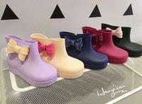 Wholesale Hot Sale Melissa Children Girls Bowknot Footwear Anti Slip Candy Color Rain Shoes Boots Children Jelly Shoes Princess PVC Flat Boot B4151