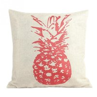 Wholesale New Style Retro Vintage Throw Home Decorative Cotton Linen Pillow Case Cushion Cover Pink Sketch Pineapple