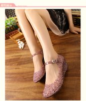 Wholesale Summer breathable crystal bling plastic jelly shoes cut out wedge heel bird nest mesh bird nest female wedge sandals NEW