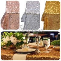 Wholesale Sequins Table Cloth for Wedding Party Decoration x60 quot Top Quality Table Runner Cloth Gold Silver Champagne Table Cloth