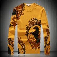 al por mayor alta gama de moda para hombre al por mayor-Venta al por mayor-Invierno nuevos hombres de impresión de gama alta marca de moda de hombres de ocio de gran tamaño de hombres suéteres de hombres suéteres y pullovers