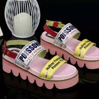 Wholesale 2016 new summer women fashion shoes belt buckle Genuine Leather print non slip heavy bottomed Platform shoes sandals student Pink Blue