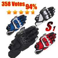 Wholesale rotective Gears Gloves Hot S1 MOTO Road Motorcycle Racing Gloves Top Leather Black Red Motorbike Guantes Urban Riders Gloves motor