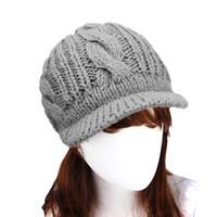 Venta al por mayor-2016 Casual mujeres del sombrero del casquillo del invierno de punto de lana gorros Diseño clásico popular del estilo completamente nuevo de espesor p1 casquillo hembra