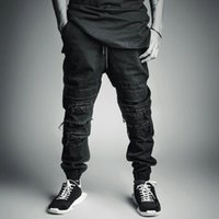 baggy style jeans - summer style black mens jeans joggers cool ripped destroyed cargo pants overalls skateboard jogging fashion destruction hip hop Baggy jeans