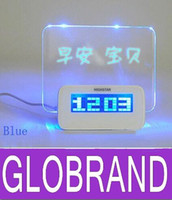 Wholesale Promotion Message board LED electronic clock large screen romantic fluorescence creative alarm clock GLO604