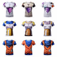 Wholesale Fashion Brand Anime Dragon Ball Z Vegeta T Shirt Men Super Saiyan Goku Sport Fitness Cosplay D T Shirt Gym tshirt homme