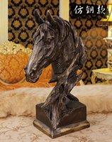 art bronze sculpture - New product ideas Home Furnishing resin crafts home decoration sandstone sculpture horse head pattern bronze color high grade