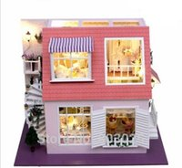 bay music - Assembly Model Scale DIY House Bay of Angels With Music Lights Wooden Miniature Dollhouse Toy