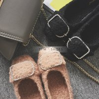 Wholesale Autumn and winter with the new flush cute flat shoes cute little curly rhinestone side button mouth as shallow as the first plush flat shoes