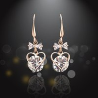 beautiful heart cz ring - 2016 New Luxury Heart Shape Bowknot Wedding Charm Earrings CZ Rhinestone Engagement Beautiful Earrings Jewelry Crystal Ear Rings